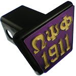 """Omega Psi Phi 1911 Trailer Hitch Cover [Purple/Gold - 2""""R]"""