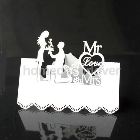 50pcs White Laser Cut Wedding Table Place Card Name Card