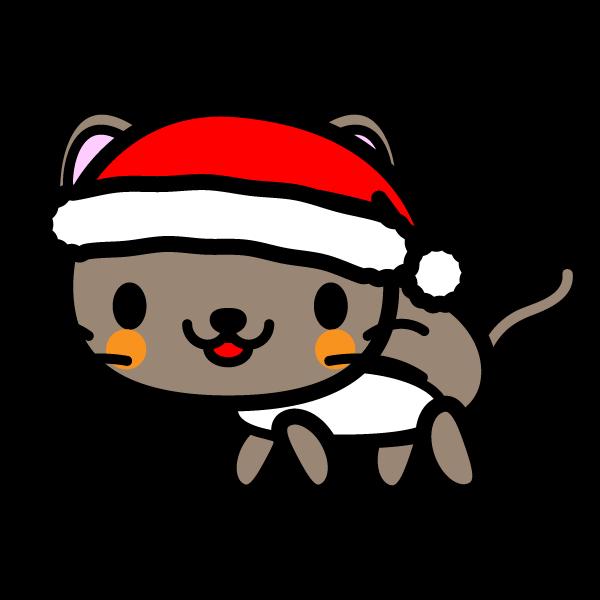 かわいい猫クリスマスverの無料イラスト商用フリー オイデ43