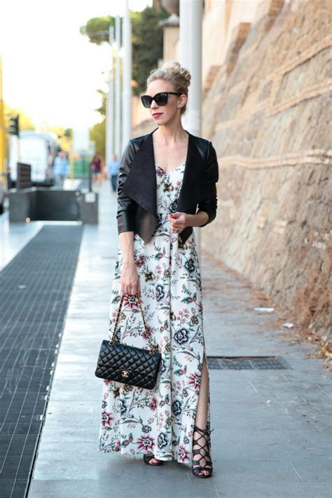 { Transitional Maxi: Floral dress, Leather jacket & Lace