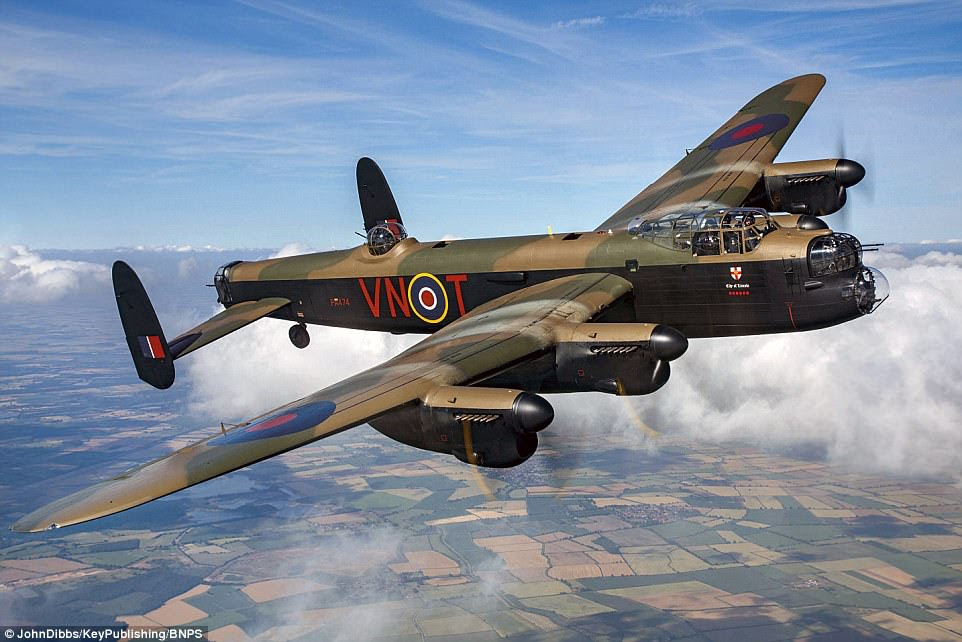 The City of Lincoln, pictured above, is the only Lancaster in Britain still flying. The most successful RAF bomber of the war, it bore the brunt of the strategic aerial attack on Germany