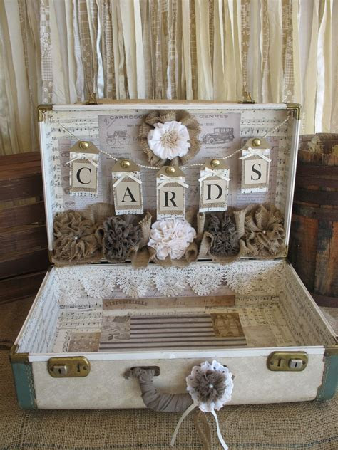 Vintage Suitcase for Rustic Wedding Card by