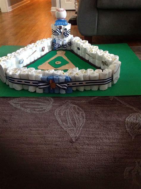 Baseball field diaper cake!!   Baby Parties   Pinterest