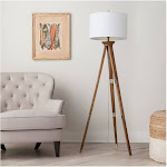 Threshold Oak Wood Tripod Floor Lamp, Brown