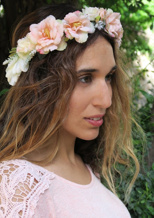 Bridal wreath Boho headband Blush pink flowers wedding