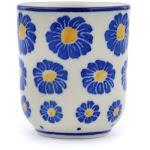 Polish Pottery Espresso Cup 2 oz Wreath Of Blue Pattern by Ceramika Artystyczna