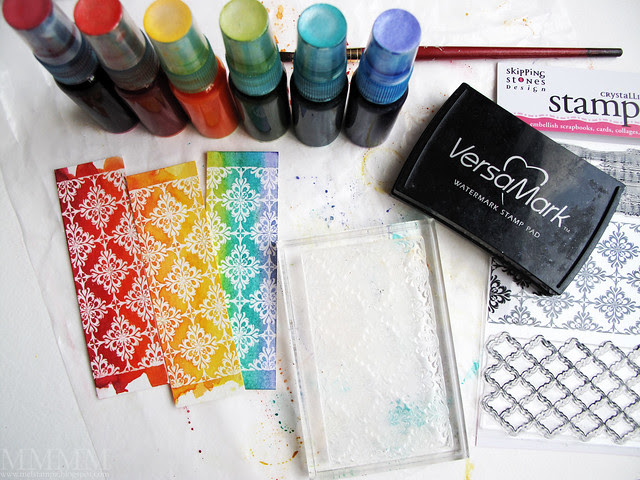 Emboss Resist with DIY shimmer mists using Skipping Stones Design Timeless Textures stamp set