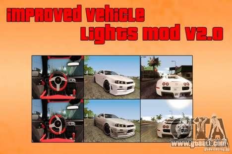 Improved Vehicle Lights Mod V2 0 For Gta San Andreas