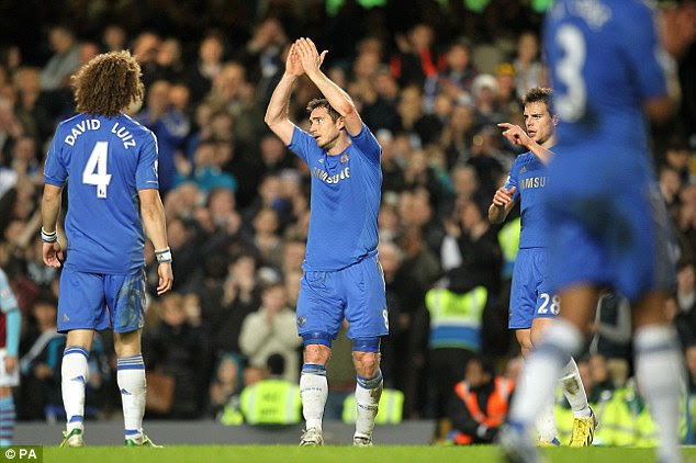 Club legend: Lampard takes the applause before being substituted after his goal