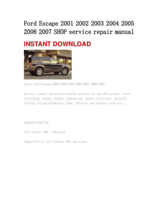 2007 ford escape owners manual download