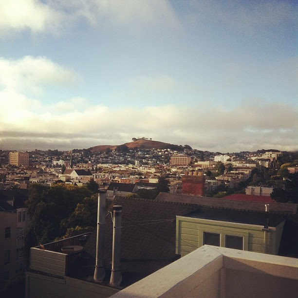 The view from my Dad's. Looking towards Bernal Heights.