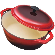 quart oval red cast iron dutch oven  lid ebay