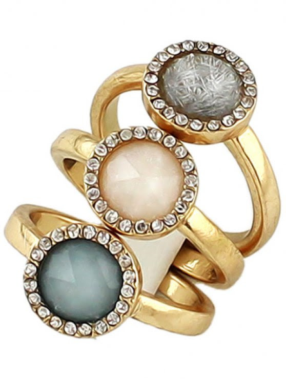 Faux Opal Round Jewelry Rings Set - Golden