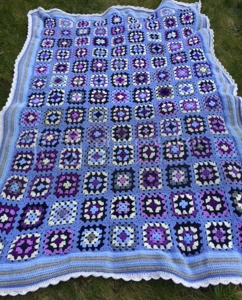 Granny Square blue crochet blanket