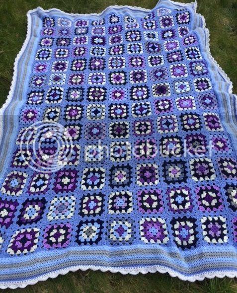 Granny Square blue crochet blanket
