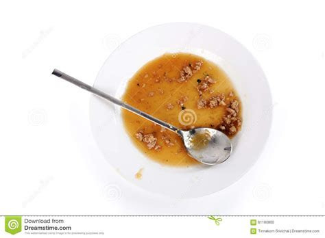 Dirty Food Waste In Plate And Spoon Stock Photo   Image