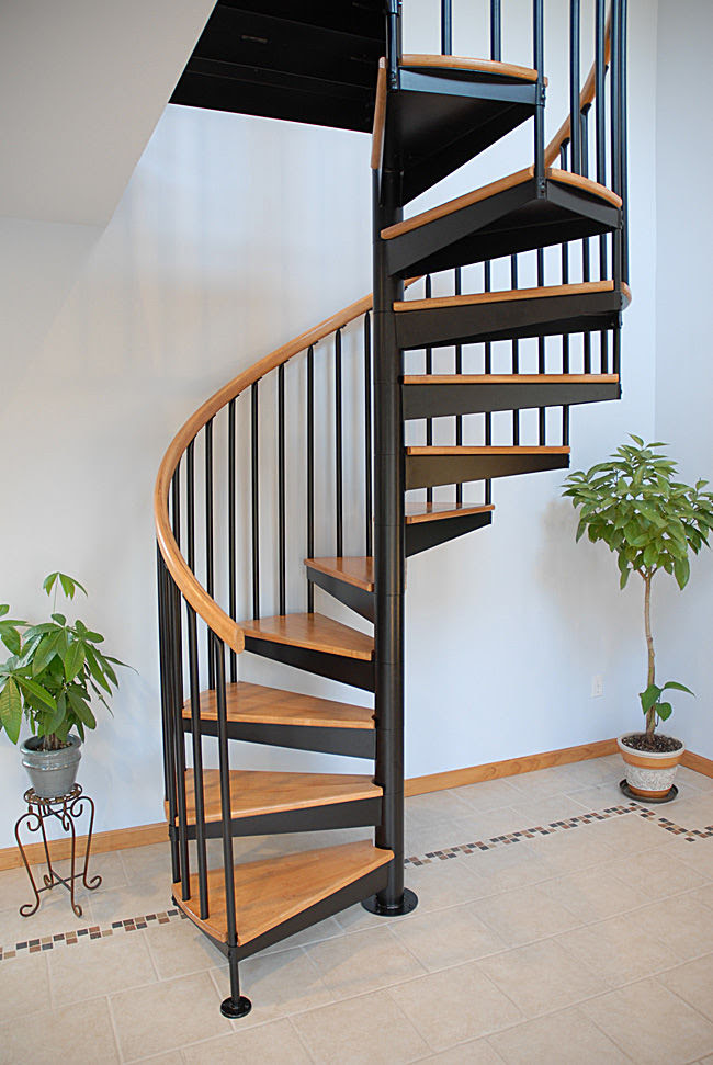 Spiral Staircase Stainless Steel Frame Wooden Steps Without