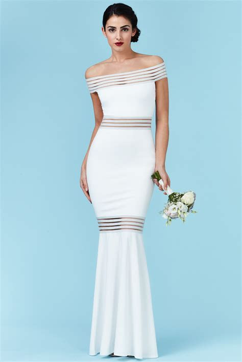 Wholesale Bardot Fishtail Maxi Wedding Dress   City Goddess