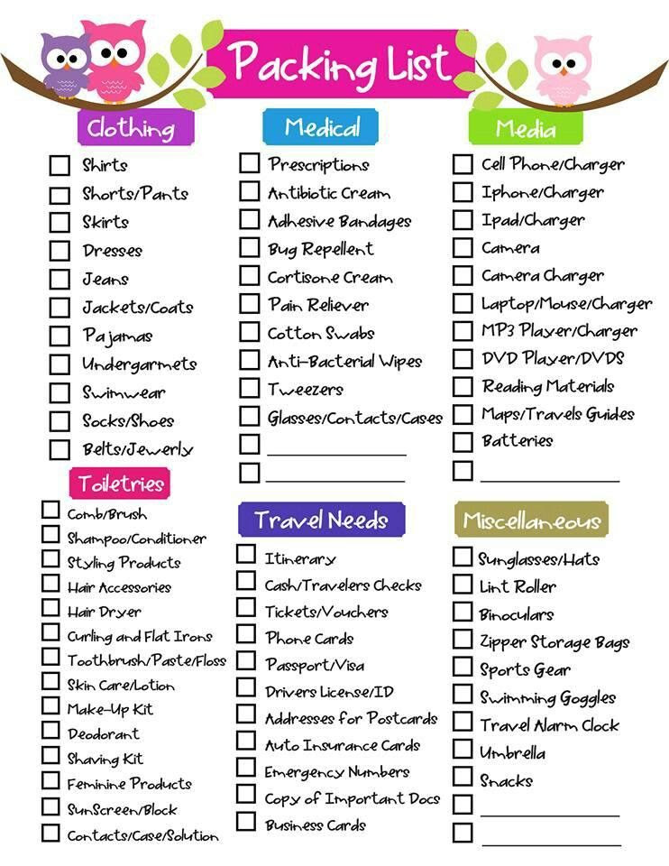 Free Printable Ultimate Packing Checklist | Packing ...