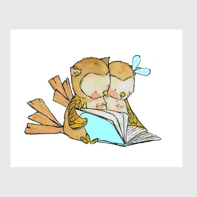 BookBuddies boy girl blue  8x10 Archival Print