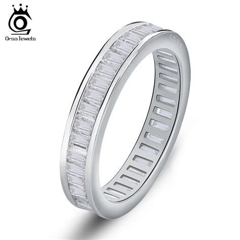 Rectangle CZ Invisible Setting Wedding Bands For Women