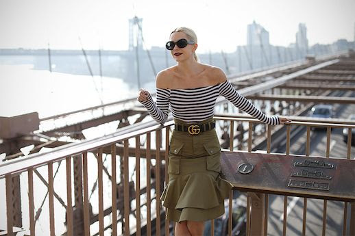 Le Fashion Blog Sunglasses Striped Long Sleeve Off Shoulder Top Khaki Skirt Via Atlantic Pacific