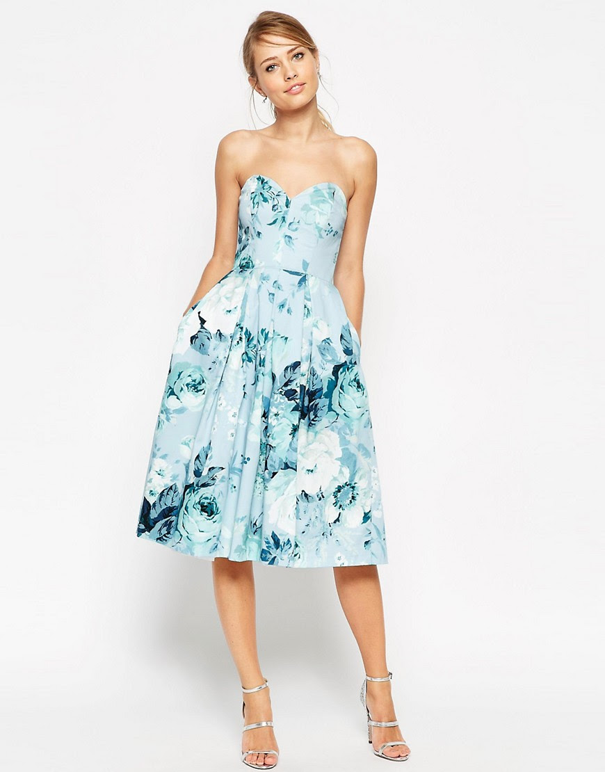 asos  asos salon rose print bandeau midi prom dress at asos