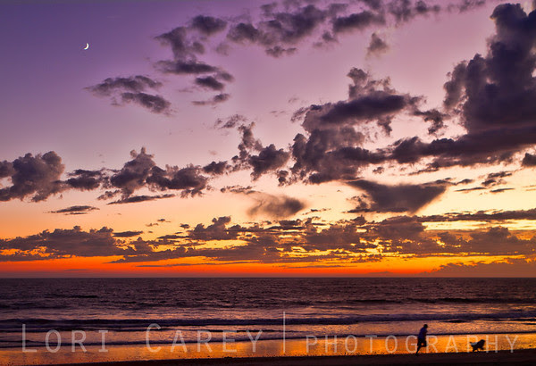 Sunset and new moon with silhouette of jogger and Golden Retriever on beach, San Clemente, California