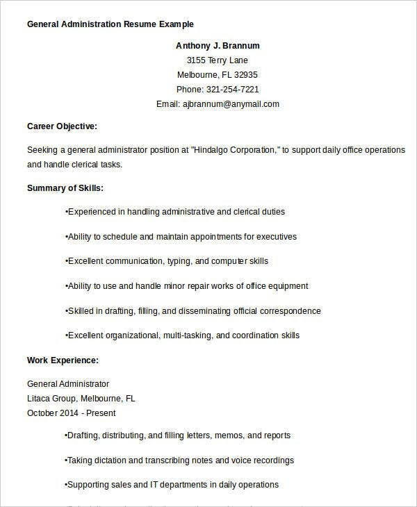 17 Best Administrative Resume