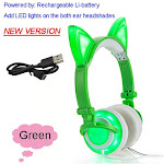 Cat Ear headphones LED Ear headphone cat earphone Flashing Glowing Headset Gaming Earphones for Adult and Children NEW Green