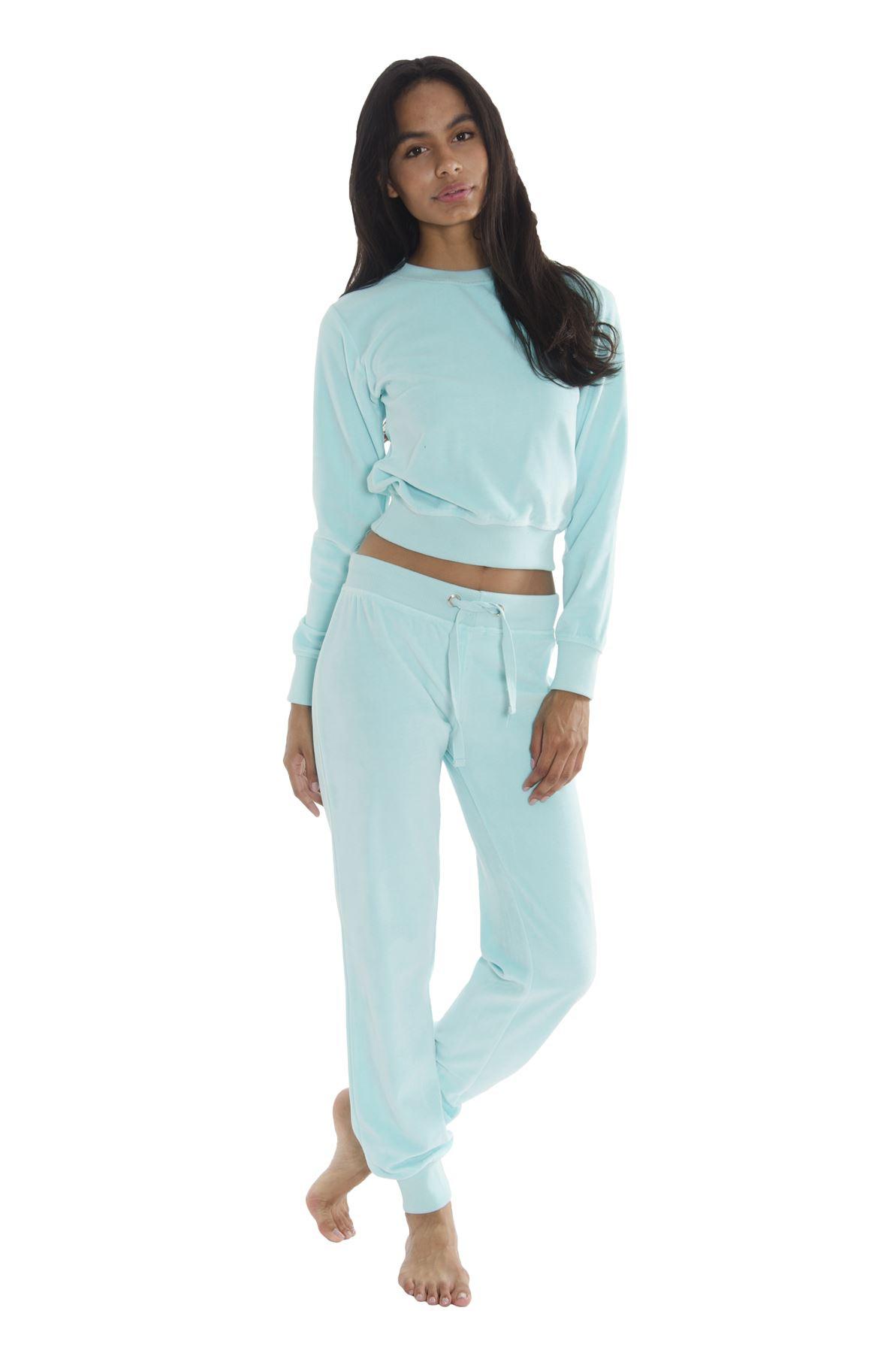 womens velour round neck active cotton soft top suit pants