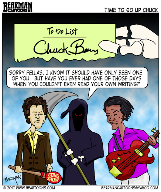 Chuck Berry & Chuck Barris RIP - Bearman Cartoons