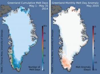 Map of melt days