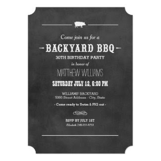 "Backyard BBQ Invitation | Black Chalkboard Design 5"" X 7"" Invitation Card"
