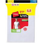 Hanes 777vg7 Men's Tagless V-Neck Undershirt 7-Pack, White