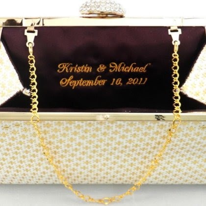 Gold Flake w/Emerald Handmade Bridal Clutch