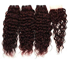 Costbuys Pinshair Weave Cease Water-Wave-Bundles Bittersweet with Non-Remy 99J Thick Human Hair Weave