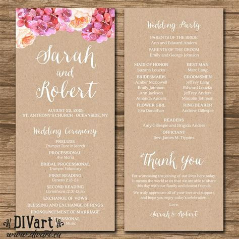 1000  ideas about Wedding Ceremony Program Template on