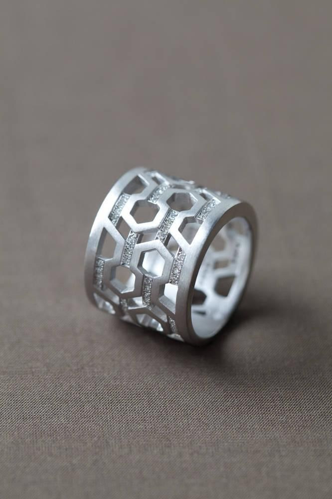 India Hicks Silver & Diamond Hexagon Ring is made of sterling  | M…