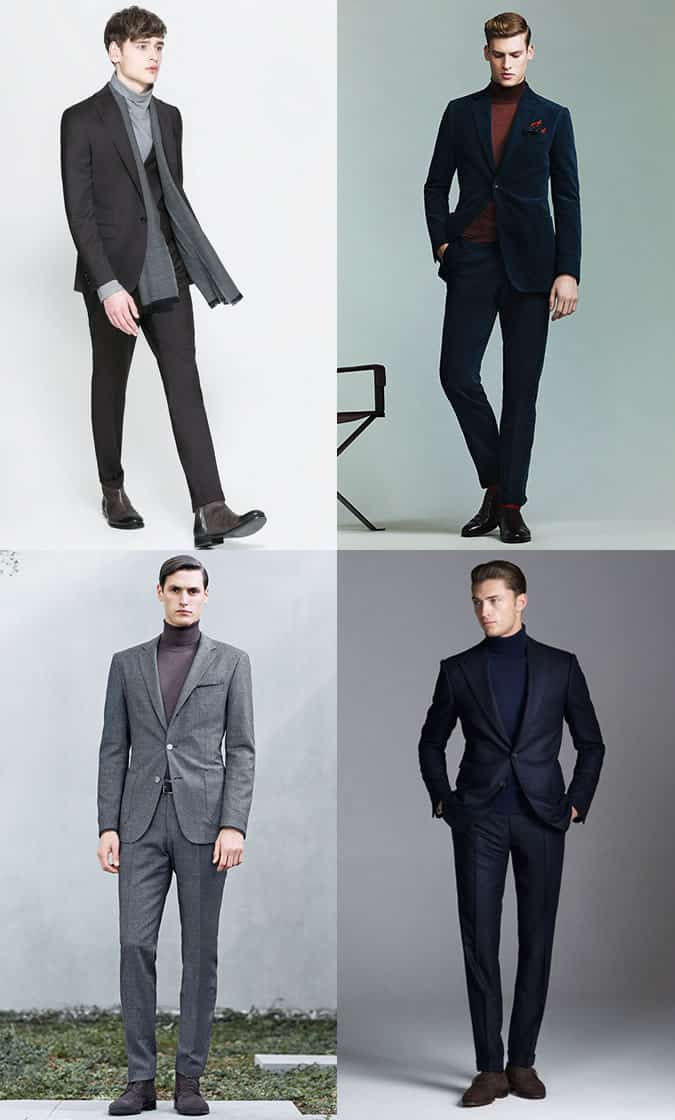 Men's Suits Mixed With Roll Necks Outfit Inspiration Lookbook