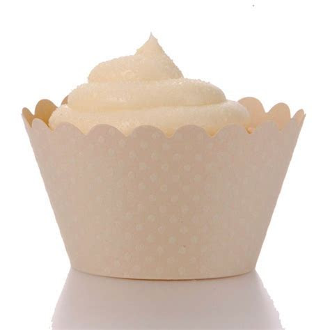 Emma Cupcake Wrappers   Ivory Beige (12 Wrappers) BEST