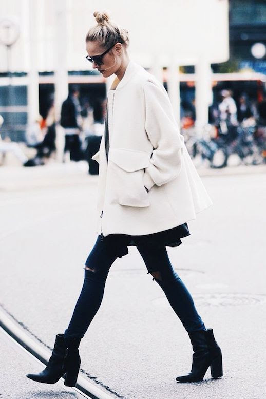 Le Fashion Blog Top Knot Bun White Coat Knee Rip Jeans Distressed Denim Pointed Block Heel Boots Blogger Style Naima Barcelona Via Who What Wear