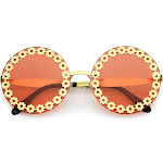Oversize Vintage Fashion Metal Floral Border Cut Out Round Sunglasses 60mm, Gold / Red