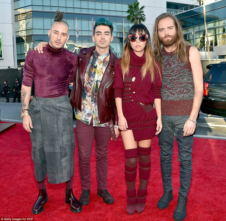 Style in sync: Joe Jonas (secon left) arrived with his group DNCE; (left to right) Cole Whittle, JinJoo Lee and Jack Lawless