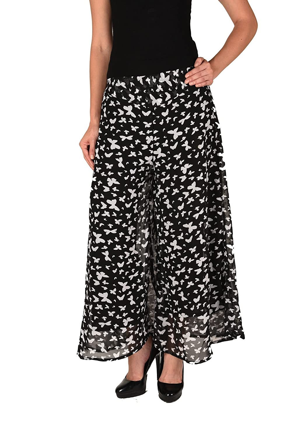 Deals on Women Stylish Butterfly Print Georgette Plazzo