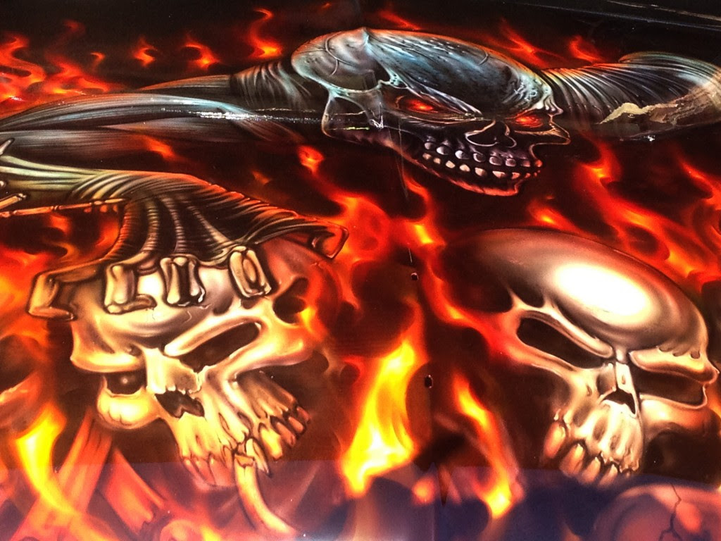 Compact Fordskulls And Flames Airbrush Art Usa