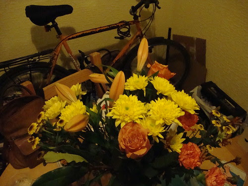 flowers from Pete; Pete's bike in the background