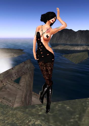 black intresting cut dress