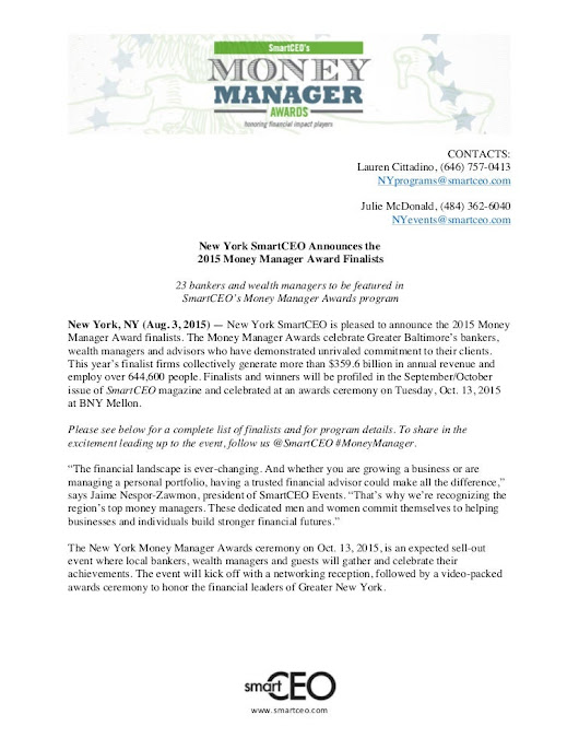 2015 Money Manager Banking Finalists