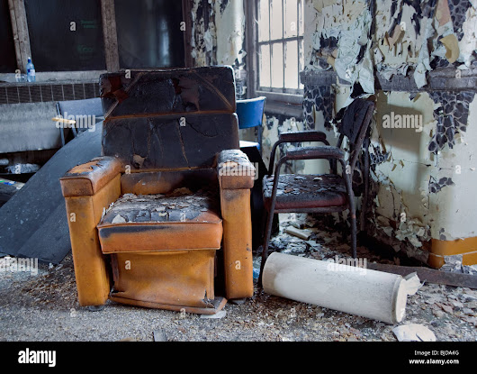 Image: Fire Damaged Chair In Burnt Out Common Room In Abandoned Mental ...